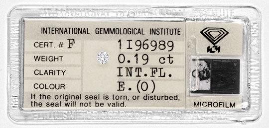 Foto 1, Diamant IGI 0,19ct Brillant Lupenrein River VGVG Juwel!, D5760