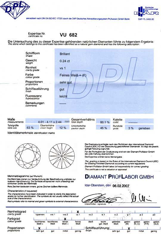 Foto 9, Diamant, DPL Brillant 0,24ct Top Wesselton F VS1 Juwel!, D5764