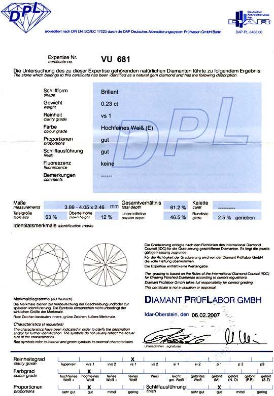Foto 9, Diamant DPL Brillant 0,23 River Hochfeines Weiss Juwel!, D5765