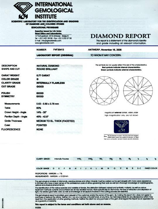 Foto 9, Diamant IGI Brillant 0,77 Lupenrein feines Weiss Juwel!, D5766