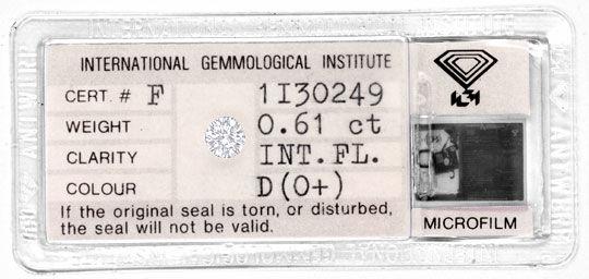 Foto 1, Diamant IGI 0,61Carat Brillant Lupenrein River-D Juwel!, D5768