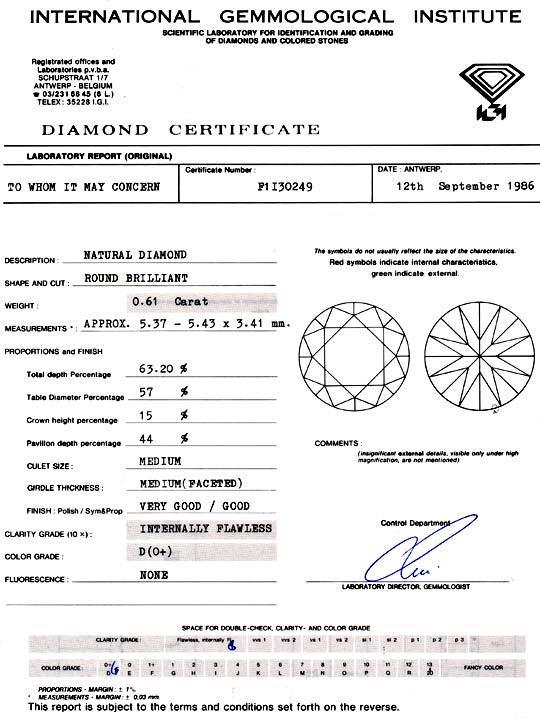 Foto 9, Diamant IGI 0,61Carat Brillant Lupenrein River-D Juwel!, D5768