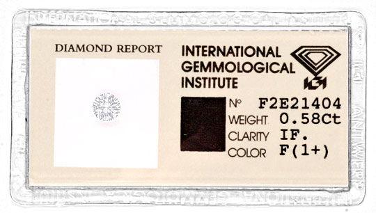 Foto 1, Diamant IGI 0,58 Lupenrein Top-Wesselton-F VG/VG Juwel!, D5769