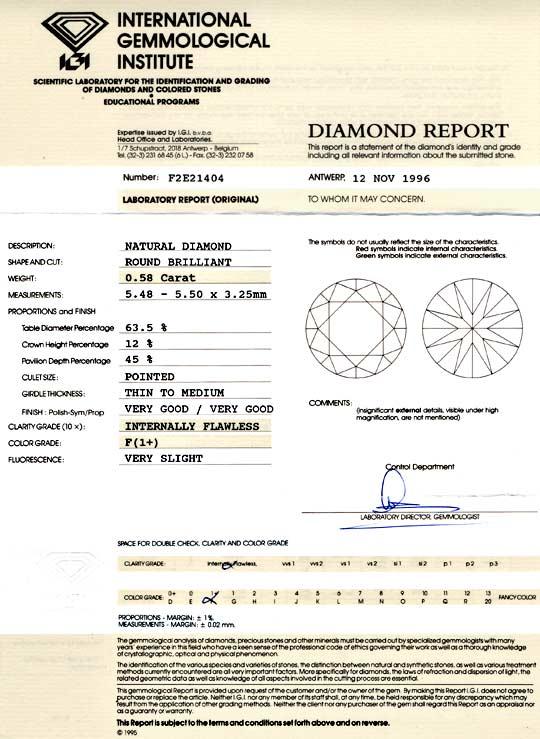 Foto 9, Diamant IGI 0,58 Lupenrein Top-Wesselton-F VG/VG Juwel!, D5769