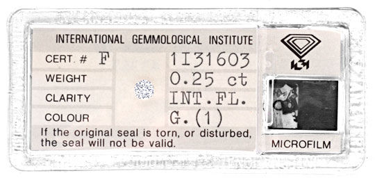 Foto 1, Diamant IGI 0,25ct Lupenrein Top Wesselton VG/VG Juwel!, D5772