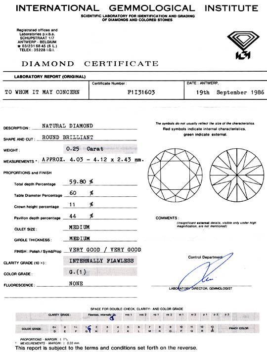 Foto 9, Diamant IGI 0,25ct Lupenrein Top Wesselton VG/VG Juwel!, D5772