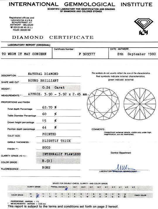 Foto 9, Diamant IGI 0,24 Carat, Brillant Lupenrein River Juwel!, D5773
