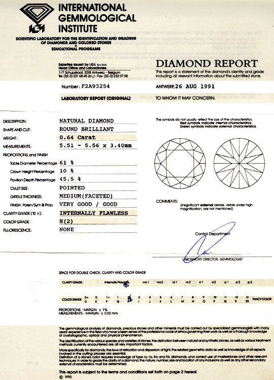 Foto 9, IGI, Diamant 0,64ct Brillant Lupenrein Wesselton Juwel!, D5776