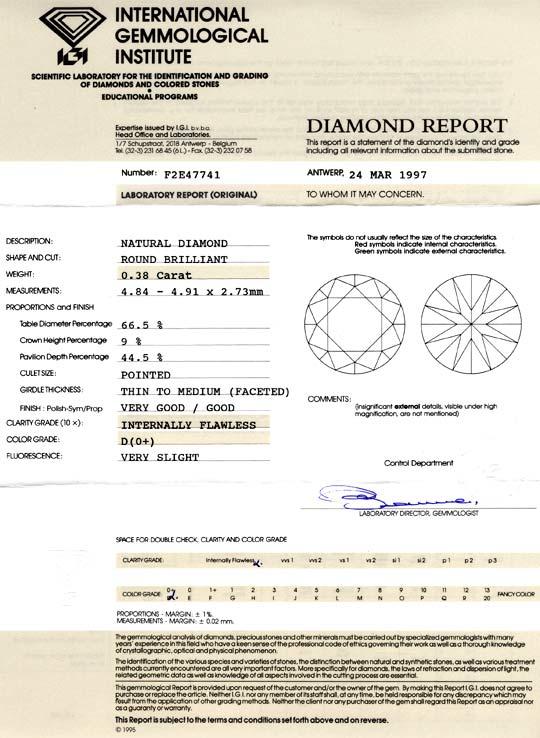 Foto 9, Der Beste Diamant 0,38ct IGI Lupenrein, River-D, Juwel!, D5779