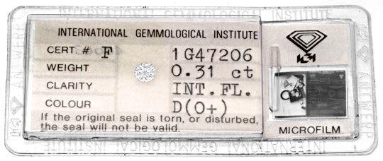Foto 1, Diamant, IGI, Brillant 0,31ct Lupenrein, River D Juwel!, D5782