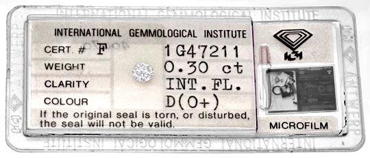 Foto 1, Diamant IGI 0,30 Lupenrein Hochfeines Weiss Plus Juwel!, D5783