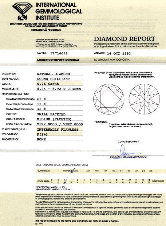 Foto 9, Diamant 0,76ct IGI Lupenrein feines Weiss F VGVG Juwel!, D5784