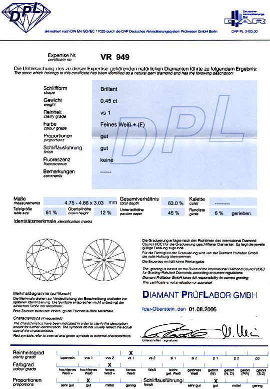 Foto 9, Diamant 0,45ct DPL-Zertifikat Top Wesselton Plus Juwel!, D5787
