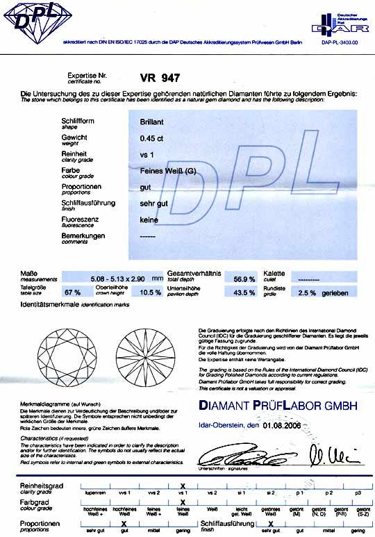 Foto 9, Diamant 0,45ct DPL-Gutachten Top-Wesselton-G VS1 Juwel!, D5788