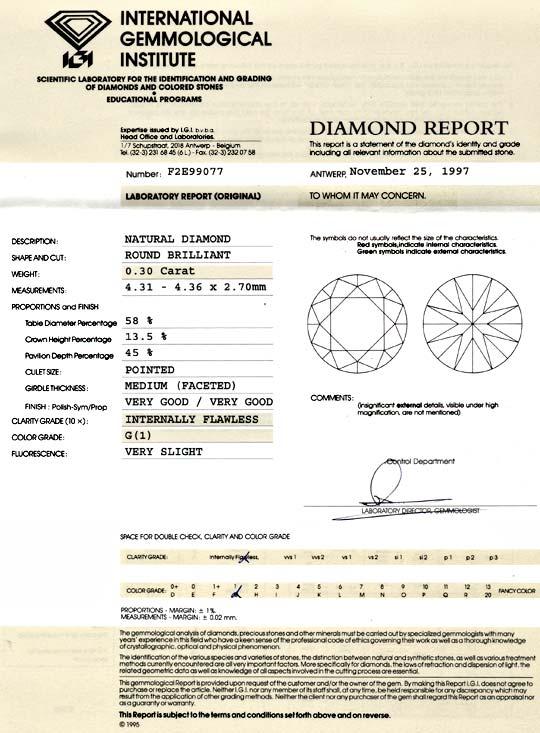 Foto 9, Diamant 0,30 Brillant IGI Lupenrein feines Weiss Juwel!, D5790