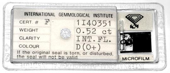 Foto 1, Der Beste Diamant 0,52ct IGI, Lupenrein River D, Juwel!, D5794