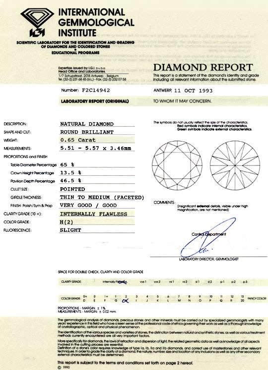 Foto 9, Diamant 0,65ct Brillant IGI Lupenrein Wesselton, Juwel!, D5804