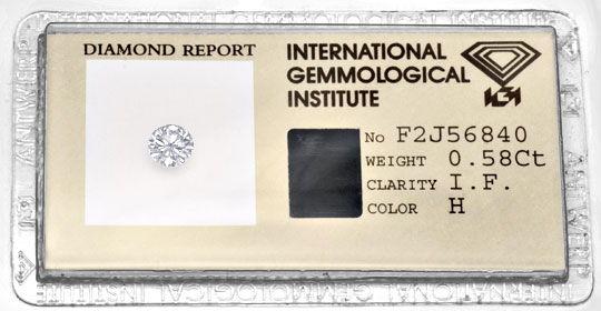 Foto 1, Diamant 0,58ct Brillant IGI Lupenrein Wesselton, Juwel!, D5805
