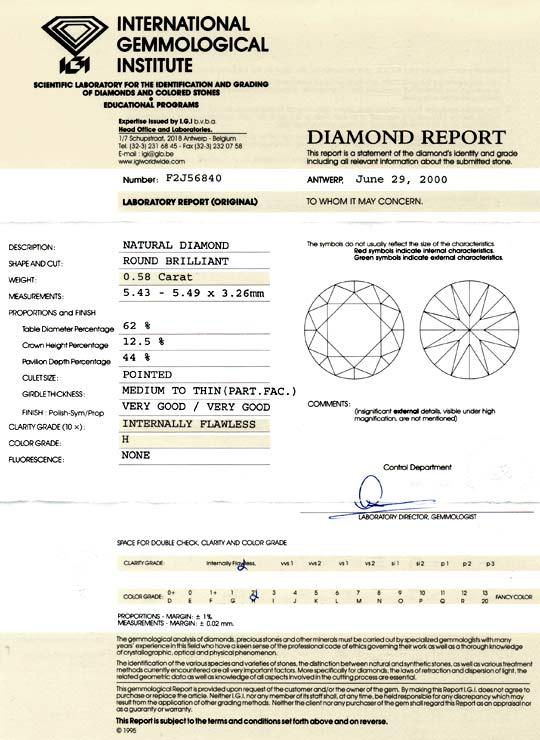 Foto 9, Diamant 0,58ct Brillant IGI Lupenrein Wesselton, Juwel!, D5805