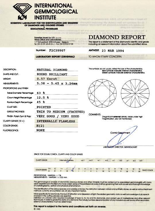 Foto 9, Diamant 0,57 Brillant IGI Lupenrein Weiss VG/VG, Juwel!, D5806