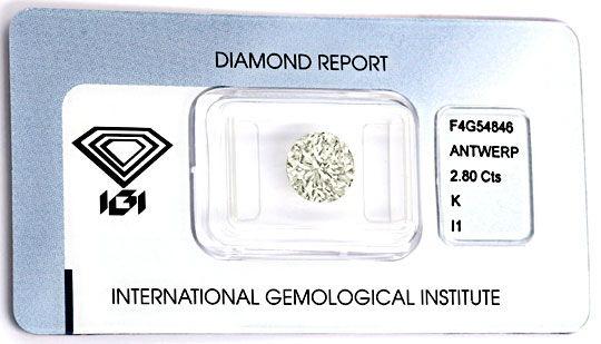 Foto 2, Riesen-Diamant 2,8ct Brillant IGI Superbrillanz Diamond, D5809