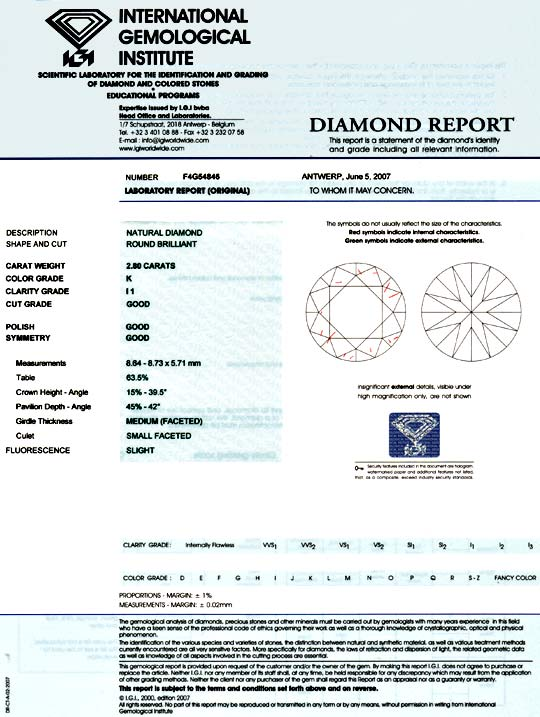 Foto 9, Riesen Diamant 2,8ct Brillant IGI Superbrillanz Diamond, D5809