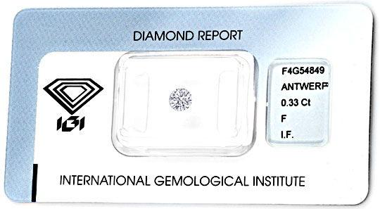 Foto 1, Diamant 0,33 IGI Lupenrein Top-Wesselton-F VG/VG Juwel!, D5810