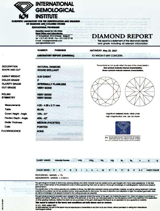 Foto 9, Diamant 0,33 IGI Lupenrein Top-Wesselton-F VG/VG Juwel!, D5810