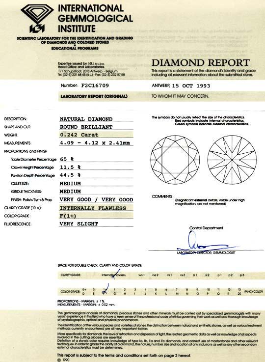 Foto 9, Diamant 0,242Carat IGI Lupenrein Top-Wesselton-F Juwel!, D5811