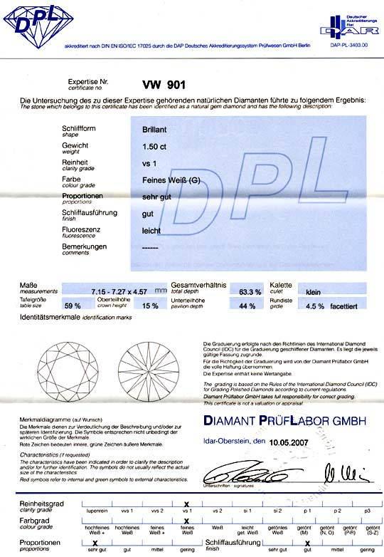 Foto 9, Diamant 1,506ct Brillant DPL Top Wesselton VS1, Diamond, D5815