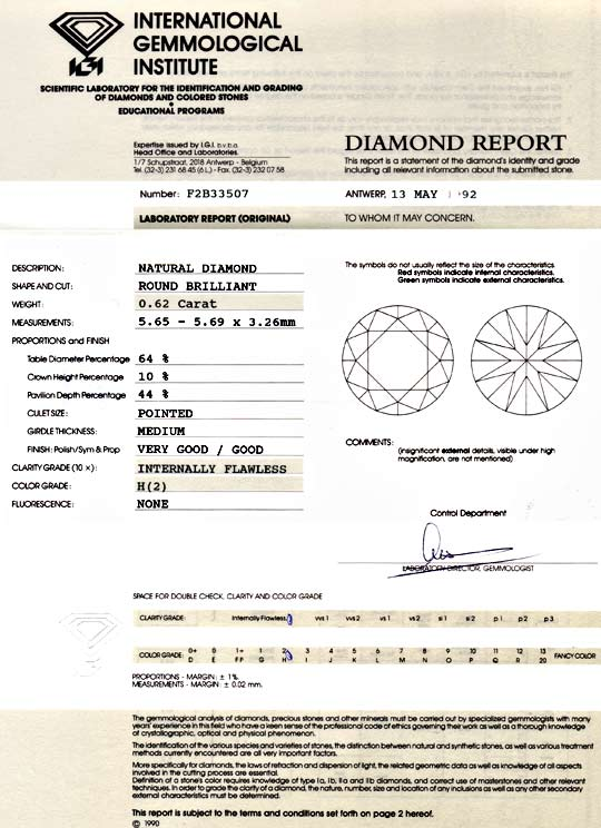 Foto 9, Diamant 0,62Carat Brillant IGI Lupenrein Weiss H Juwel!, D5818