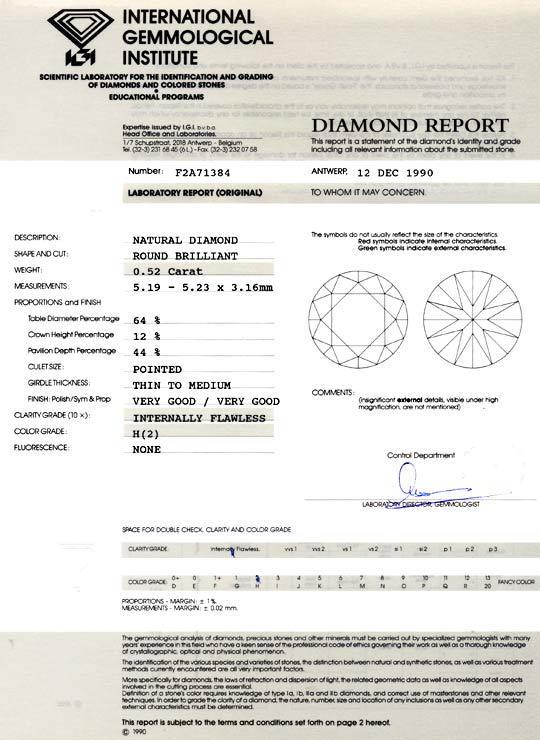 Foto 9, Diamant 0,52ct Brillant, IGI Lupenrein Wesselton Juwel!, D5822