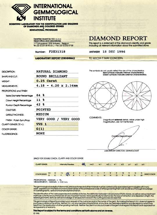Foto 9, Diamant 0,25ct Brilliant, IGI VVS1 Top Wesselton Juwel!, D5829