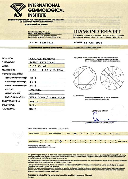 Foto 9, Diamant 0,18ct Brillant, IGI VVS2 Wesselton Weiss, Shop, D5832