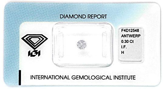 Foto 1, Diamant 0,3ct Brillant IGI Lupenrein Wesselton H Juwel!, D5849