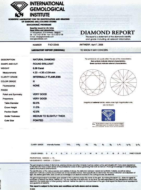 Foto 9, Diamant 0,3ct Brillant IGI Lupenrein Wesselton H Juwel!, D5849