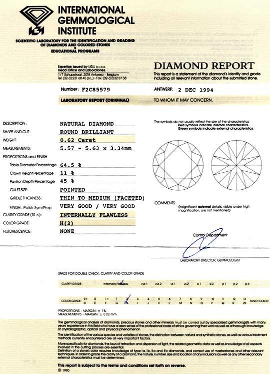 Foto 9, Diamant 0,62ct Brillant, IGI Lupenrein Wesselton Juwel!, D5850
