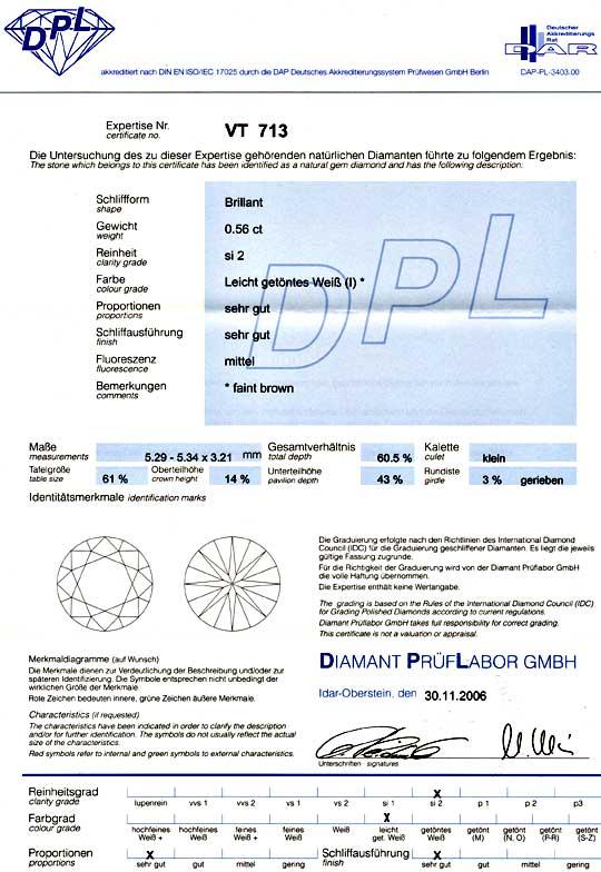 Foto 9, Diamant 0,56ct DPL Schliff Proportionen sehr gut Juwel!, D5853