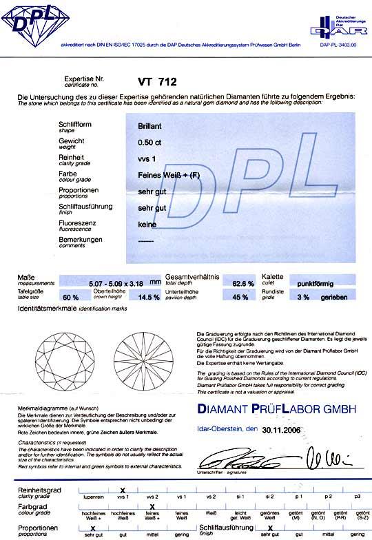 Foto 9, Diamant 0,50ct Brillant DPL feines Weiss F, VVS1 Juwel!, D5854