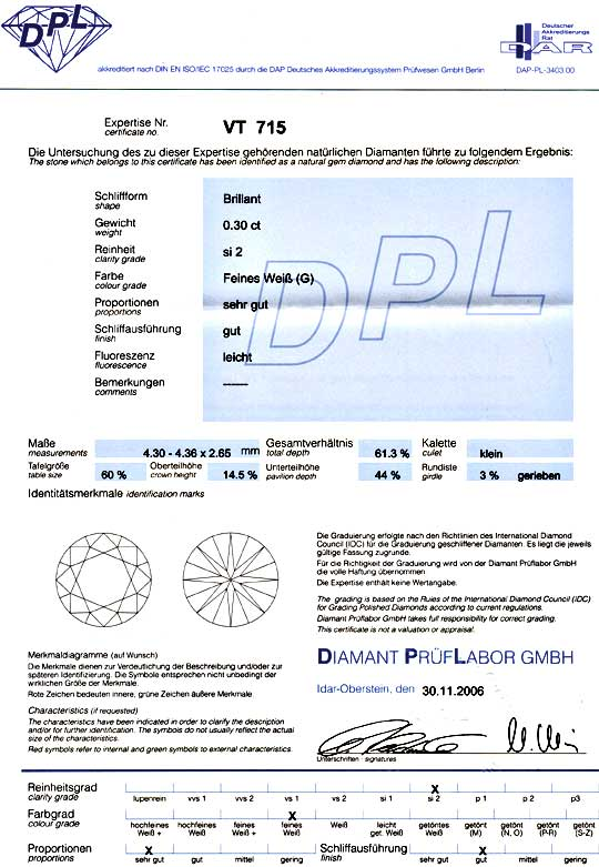 Foto 9, Diamant 0,30ct Brilliant DPL Top Wesselton G SI2 Juwel!, D5856