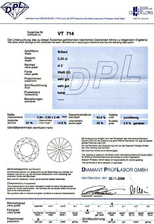 Foto 9, Diamant 0,24ct Brilliant DPL Wesselton H SI2 VG/VG Shop, D5858