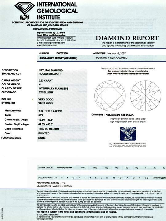 Foto 9, Diamant 0,33 IGI H Lupenrein Excellent Very Good Juwel!, D5859