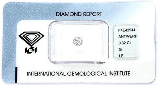 Foto 1, Diamant 0,32ct IGI, Lupenrein G, 3 Mal Excellent Juwel!, D5860