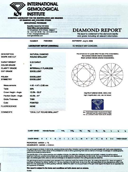 Foto 9, Diamant 0,32ct IGI, Lupenrein G, 3 Mal Excellent Juwel!, D5860