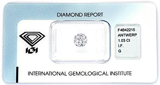 Foto 1, Diamant 1,03 IGI G Lupenrein Excellent Idealcut Diamond, D5866
