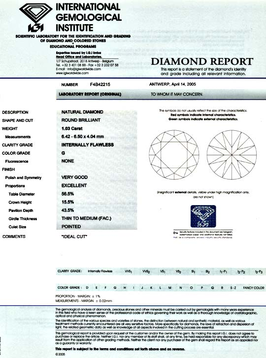 Foto 9, Diamant 1,03 IGI G Lupenrein Excellent Idealcut Diamond, D5866
