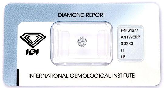 Foto 1, Diamant 0,32ct Brillant IGI Lupenrein Weiss 3xVG Juwel!, D5867