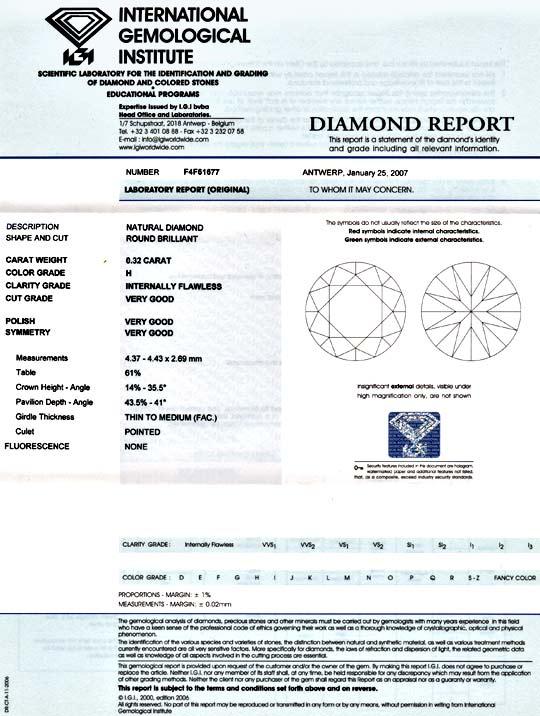 Foto 9, Diamant 0,32ct Brillant IGI Lupenrein Weiss 3xVG Juwel!, D5867
