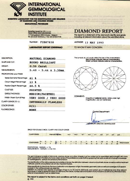 Foto 9, Diamant 0,59ct IGI Lupenrein Top Wesselton VG/VG Juwel!, D5869