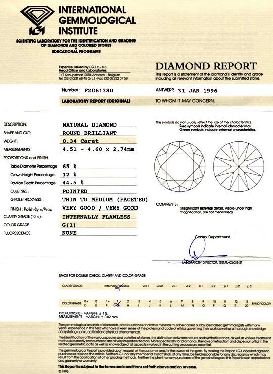 Foto 9, Diamant 0,34ct IGI Lupenrein Top Wesselton VG/VG Juwel!, D5879